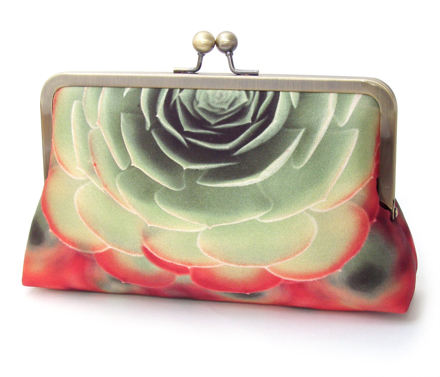 Image of Succulent clutch purse, green and red silk bag, aeonium cacti
