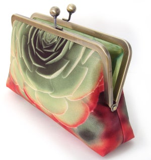 Image of Red + green succulent clutch bag