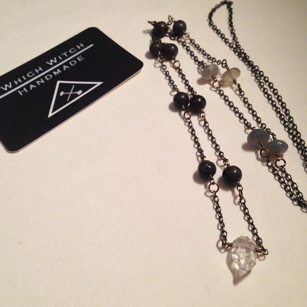 Image of The Hanged Man Herkimer Diamond Dolomite Moonstone Natural Gemstone Handmade Amulet Necklace | Tarot