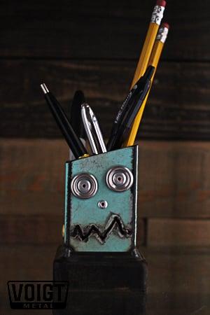Image of Desk organizer/Small: Pencil Pusher Robot Blue
