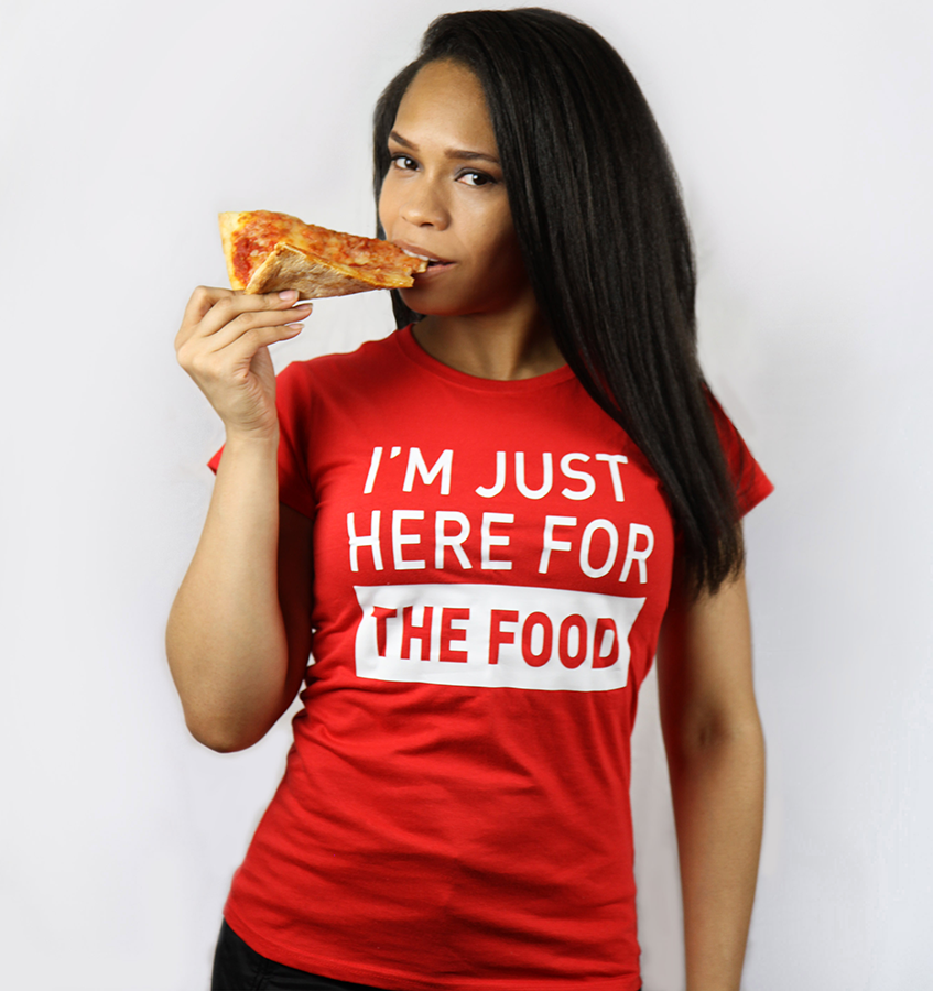 I'm just here for the food (Women's) Red T-shirt