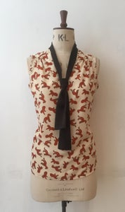 Image of Little Leopards tie neck v neck top