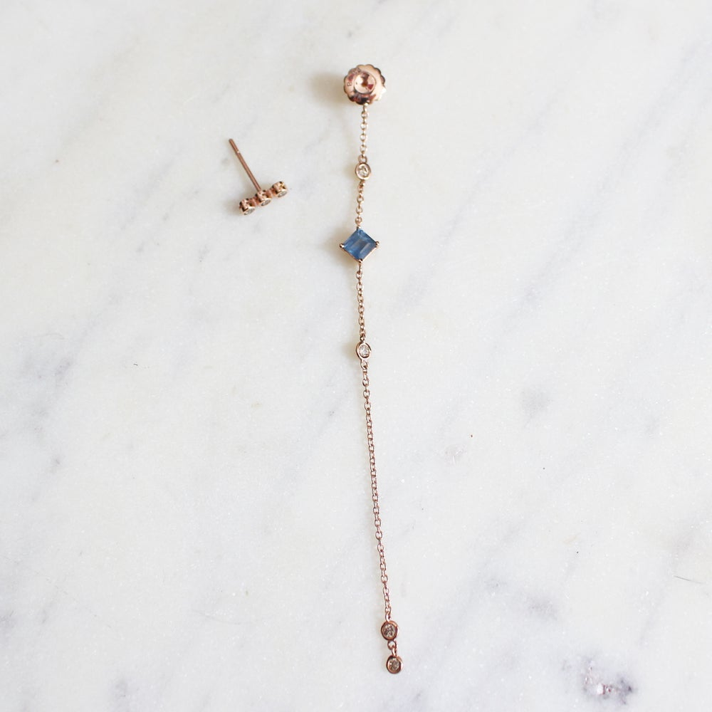 Image of Winter Forest Sapphire Linear Earring