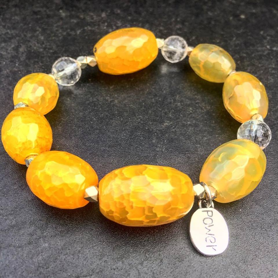 Image of Manipura/Power Center Faceted Agate with Crystal Quartz with S.S. Power Center/Manipura Charm