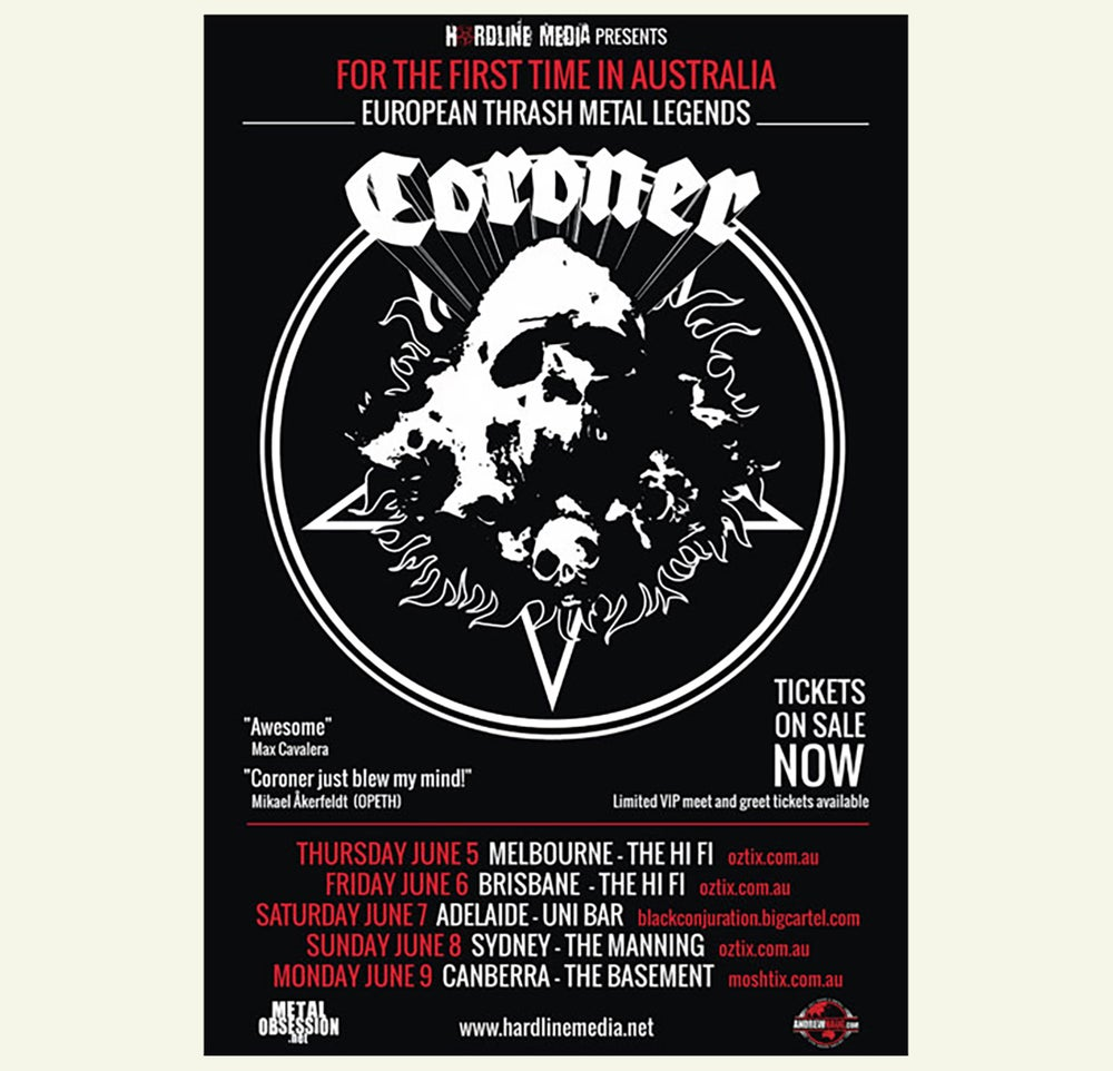 Image of CORONER -  Australian Tour Poster 2014 size A3