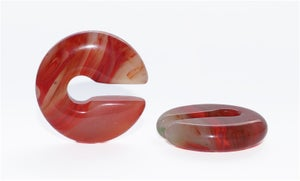 Image of Red Marble Agate Stone Keyhole Ear Weights, Ear Hangers