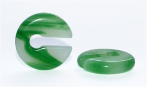 Image of Jade Green Marble Stone Keyhole Ear Weights, Ear Hangers