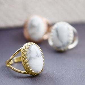 Image of Marbleised - White Howlite Marble Gemstone Cocktail Ring