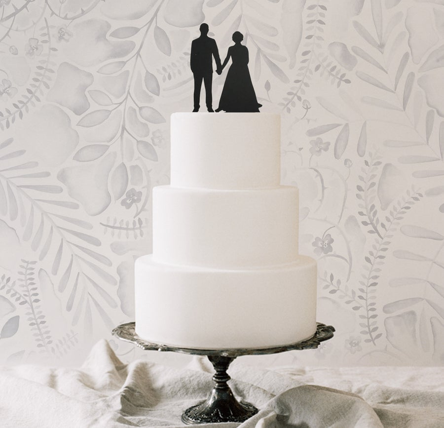Image of Laser Cut Silhouette Wedding Cake Topper & Portrait