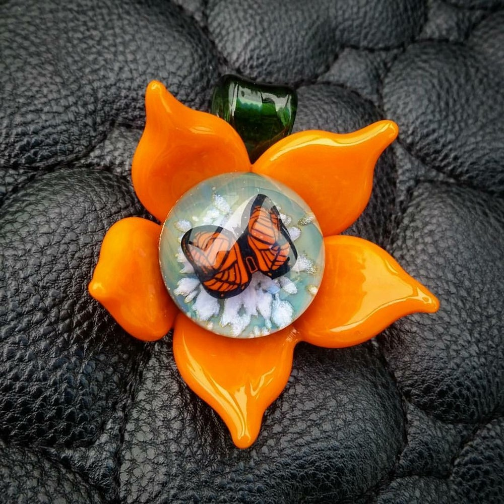 Image of Butterfly Flower Pendant