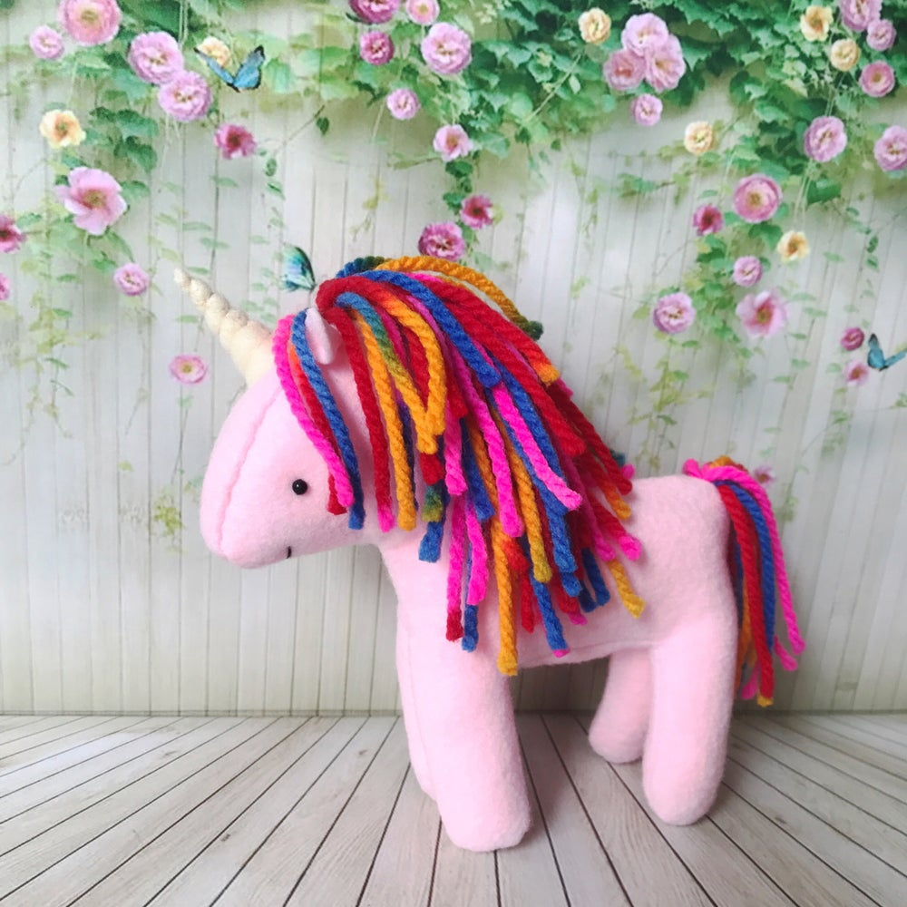 Image of Pink Rainbow Unicorn Plush Doll