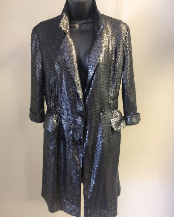 Image of VTG MATT BLACK SEQUIN ROCKDOLL BLAZER S/M