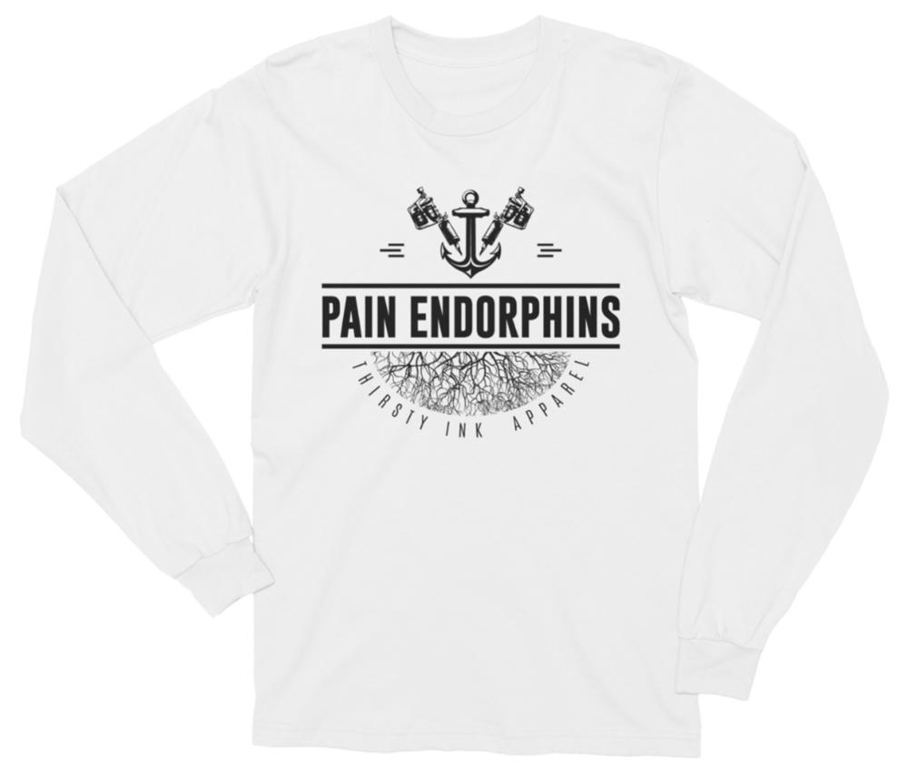 Image of Pain Endorphins Long-Sleeve White