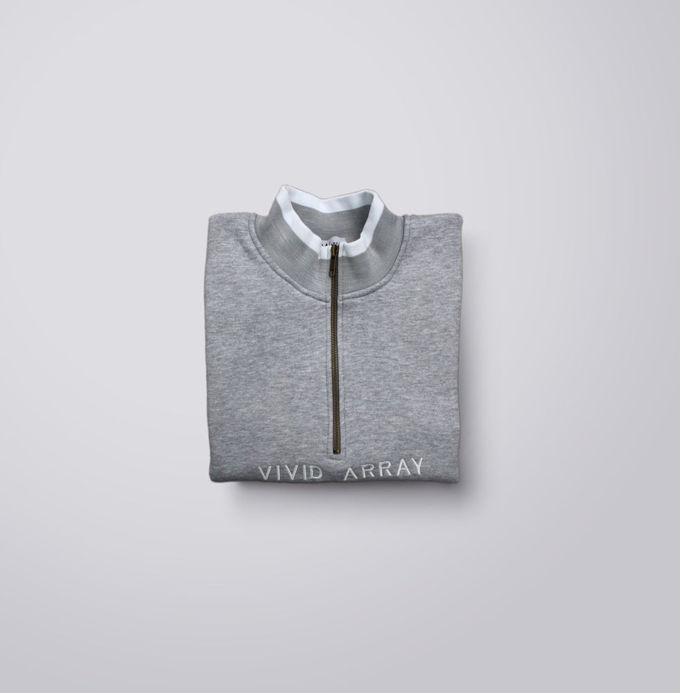Image of Contrast Quarter-Zip - Grey & White