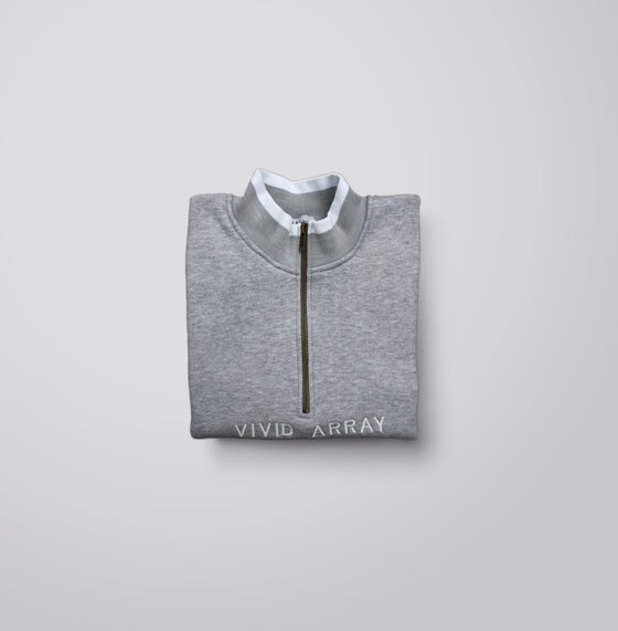Image of Contrast Quarter-Zip - Grey & White