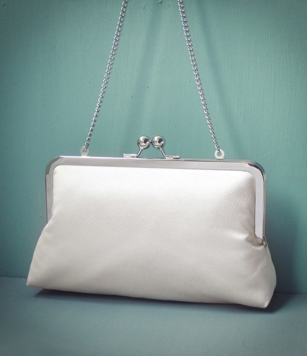 Ivory clutch purse, silk bag with chain handle, wedding bridal clutch - Red Ruby Rose