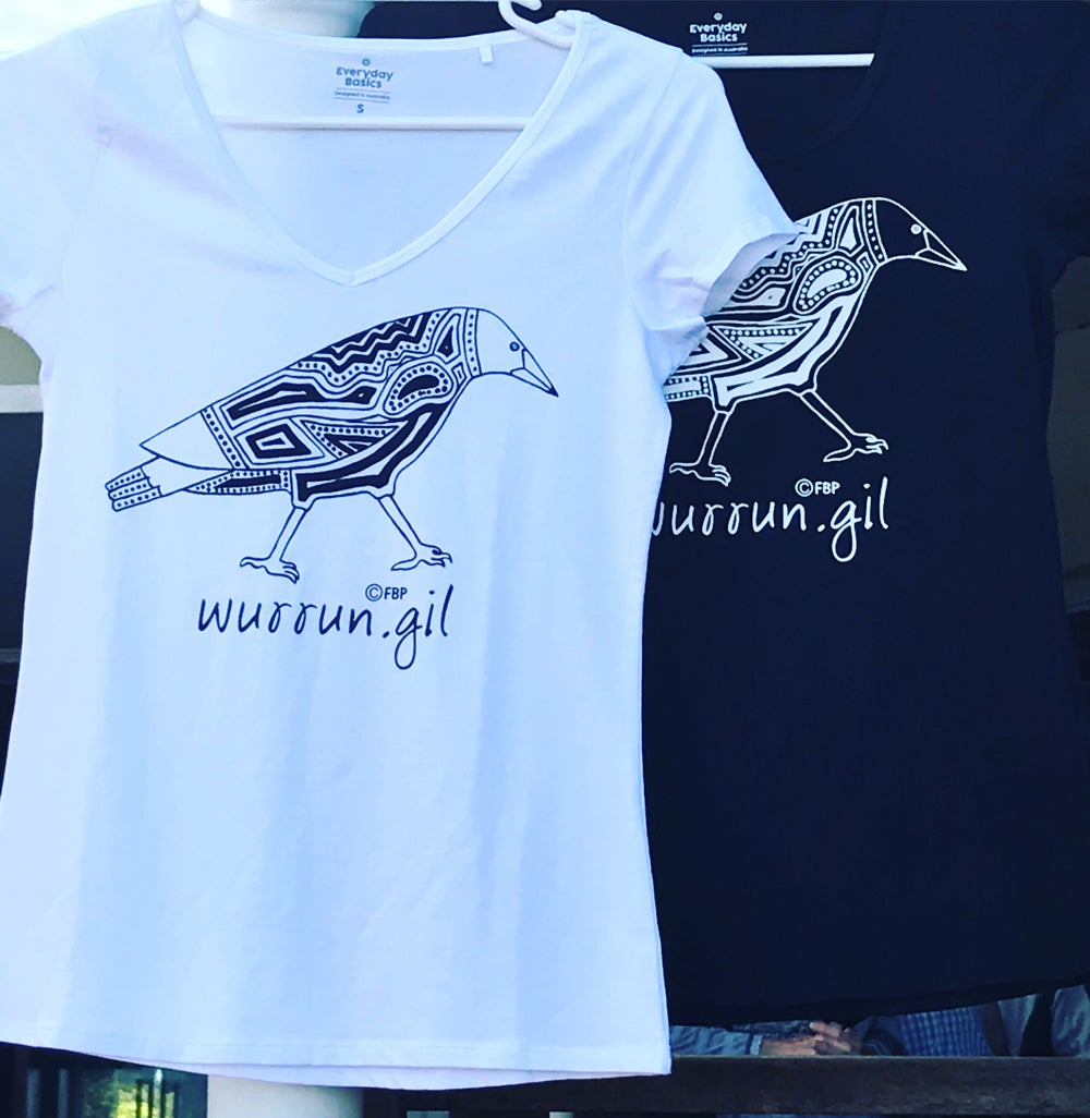 Women's Wurrun.gil (Magpie) screen printed tee Limited Edition