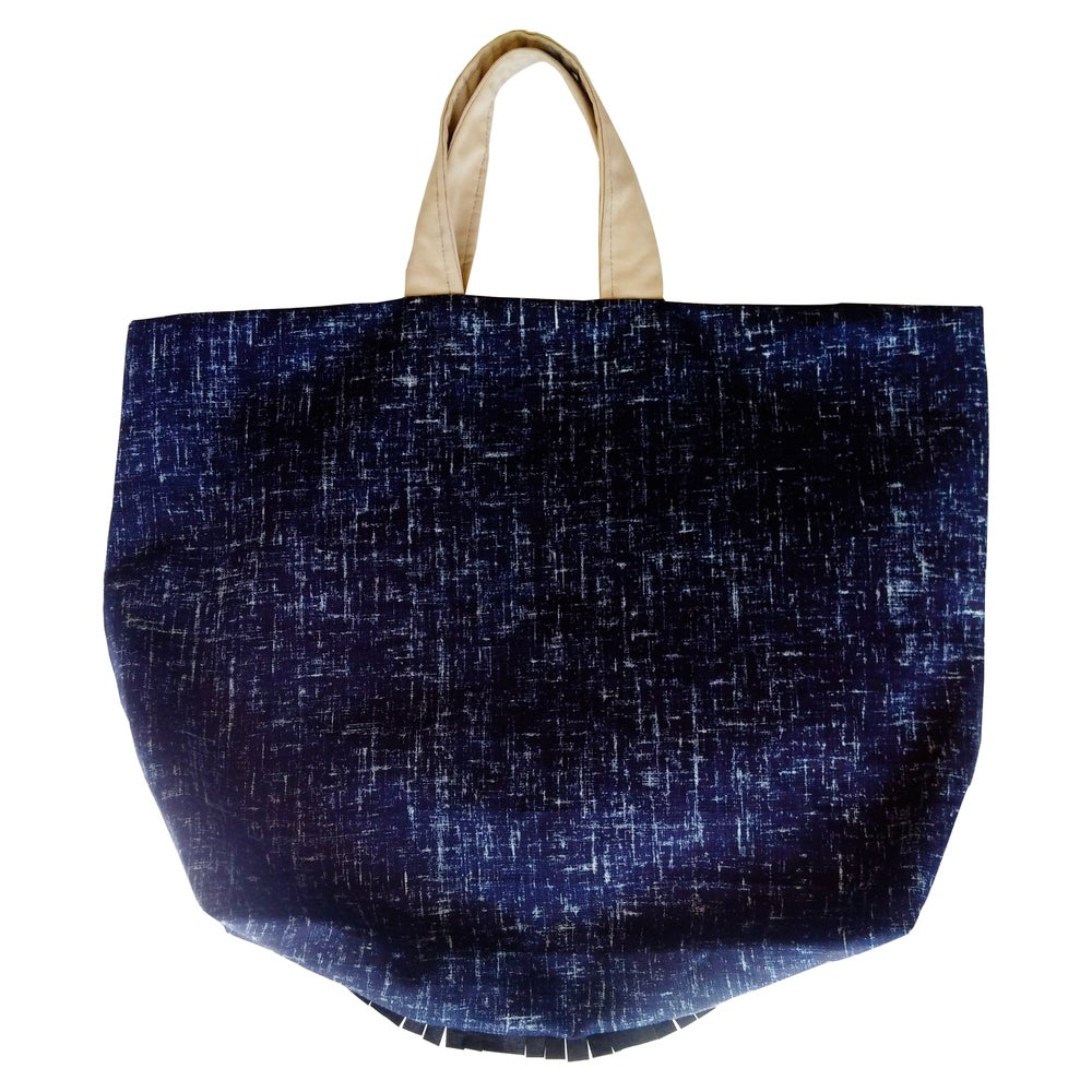 Image of Blu Linen Tote w/ Leather Fringe