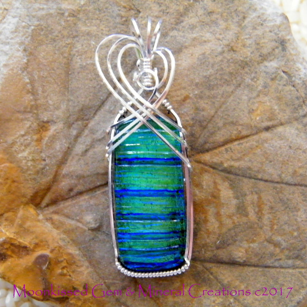 Image of Striped Dichroic Glass Sterling Silver Pendant