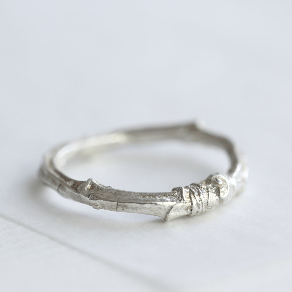 Image of silver twig ring/twig wedding ring/cherry tree twig ring