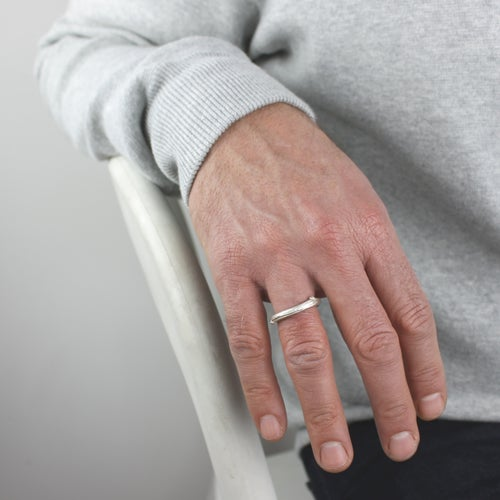 Image of  silver apple twig ring.
