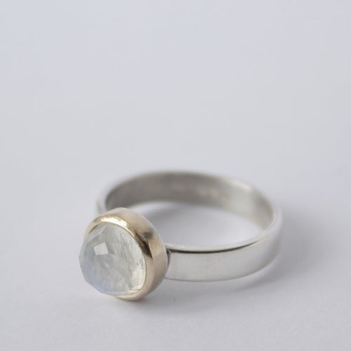 Image of Moonstone ring, moonstone and gold ring, rose cut moonstone