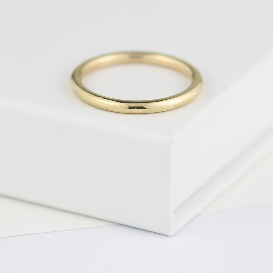 Image of Gold ring, beautifully simple gold wedding ring, 2mm wide wedding ring