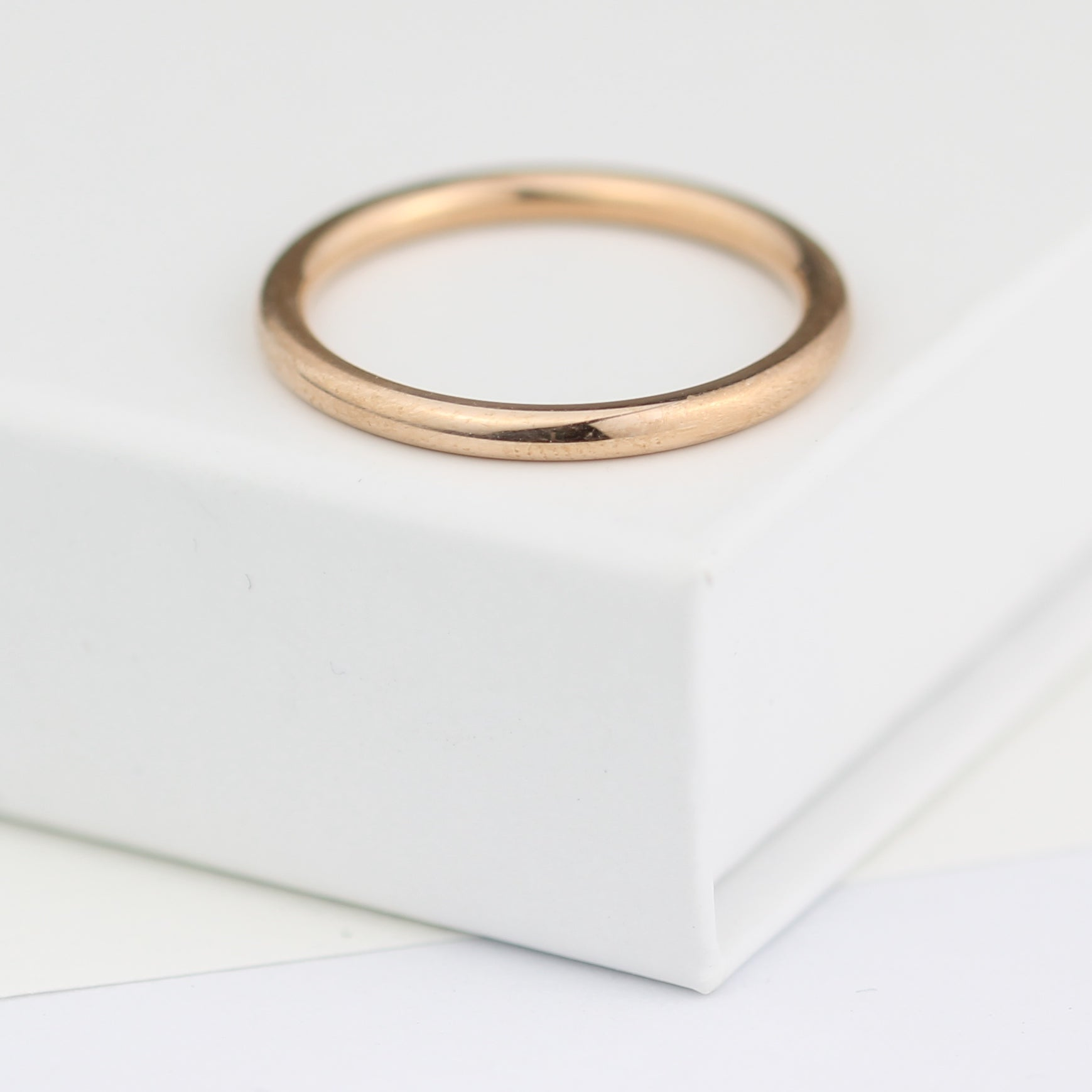 Rose Gold Ring Beautifully Simple Rose Gold Wedding Ring 2mm Wide