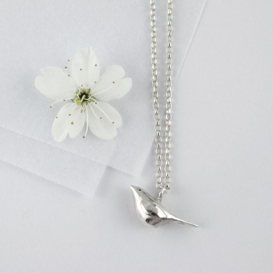 Image of Bird necklace, silver bird necklace