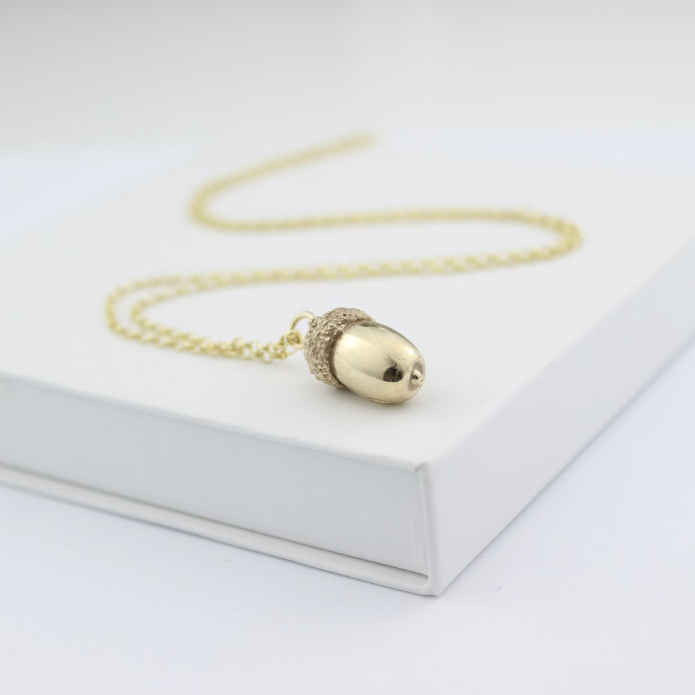 Image of Gold acorn necklace, solid gold acorn necklace