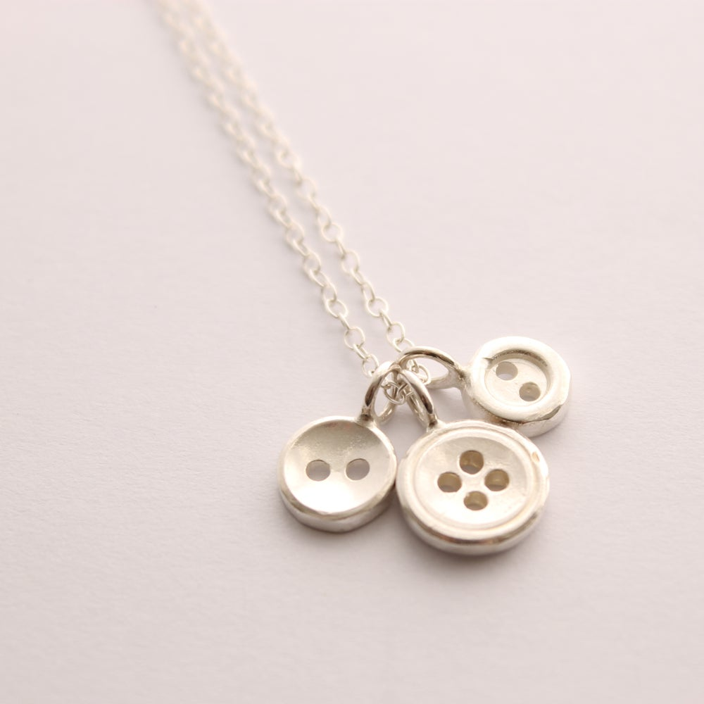 Image of 3 button necklace, silver button necklace