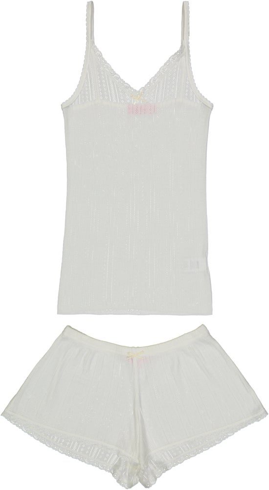 Image of White vertical POINTELLE camisole