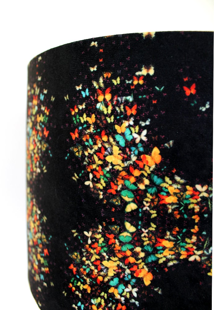 Image of 'Butterflies on Black' Drum Lampshade by Lily Greenwood (30cm, Table Lamp or Ceiling)