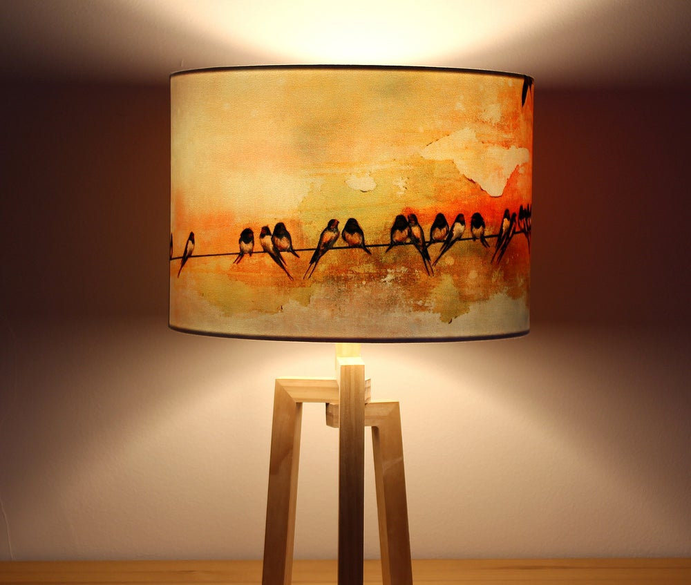 Image of 'Swallows at Sunrise' Drum Lampshade by Lily Greenwood (30cm, Table Lamp or Ceiling)