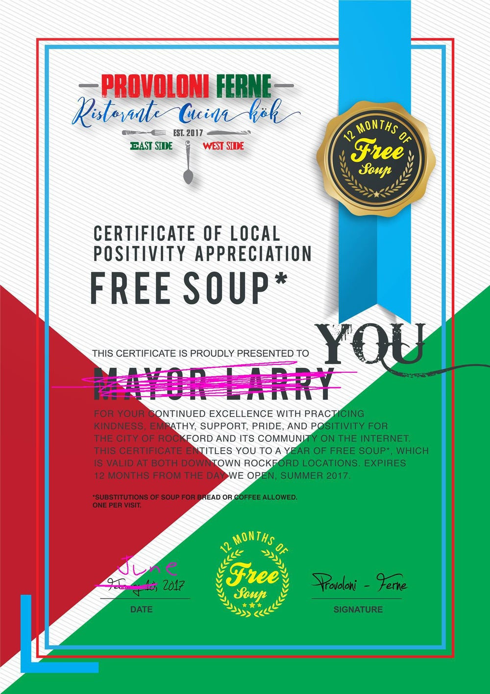 Image of Free Soup Certificate!