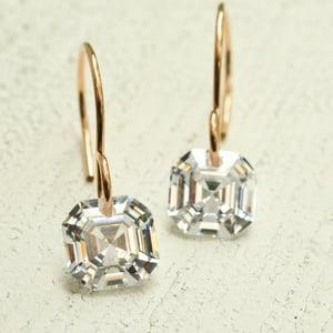 Image of Asscher cut cubic zirconia earrings