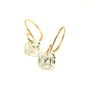Image of Asscher cut cubic zirconia earrings