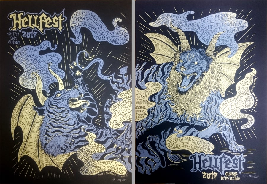 DIPTYCH HELLFEST 2017 (Clisson 2017) screenprinted 2 posters