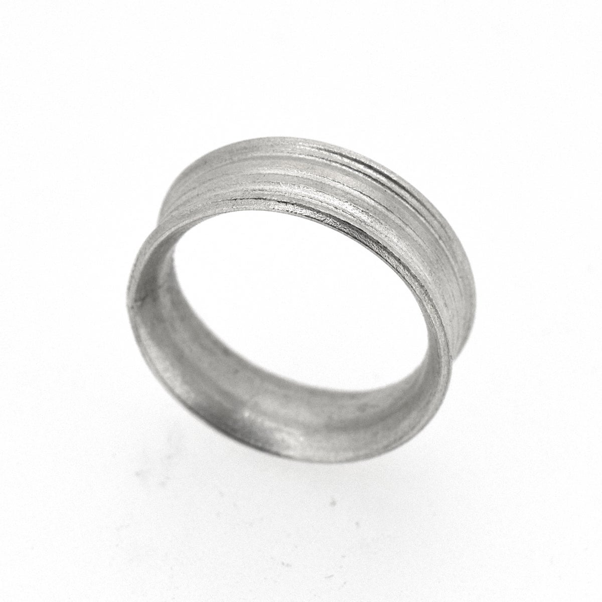 Sterling Silver Round, grooved 'Strata' Ring. 7mm diameter band with a rounded, easy fit inside
