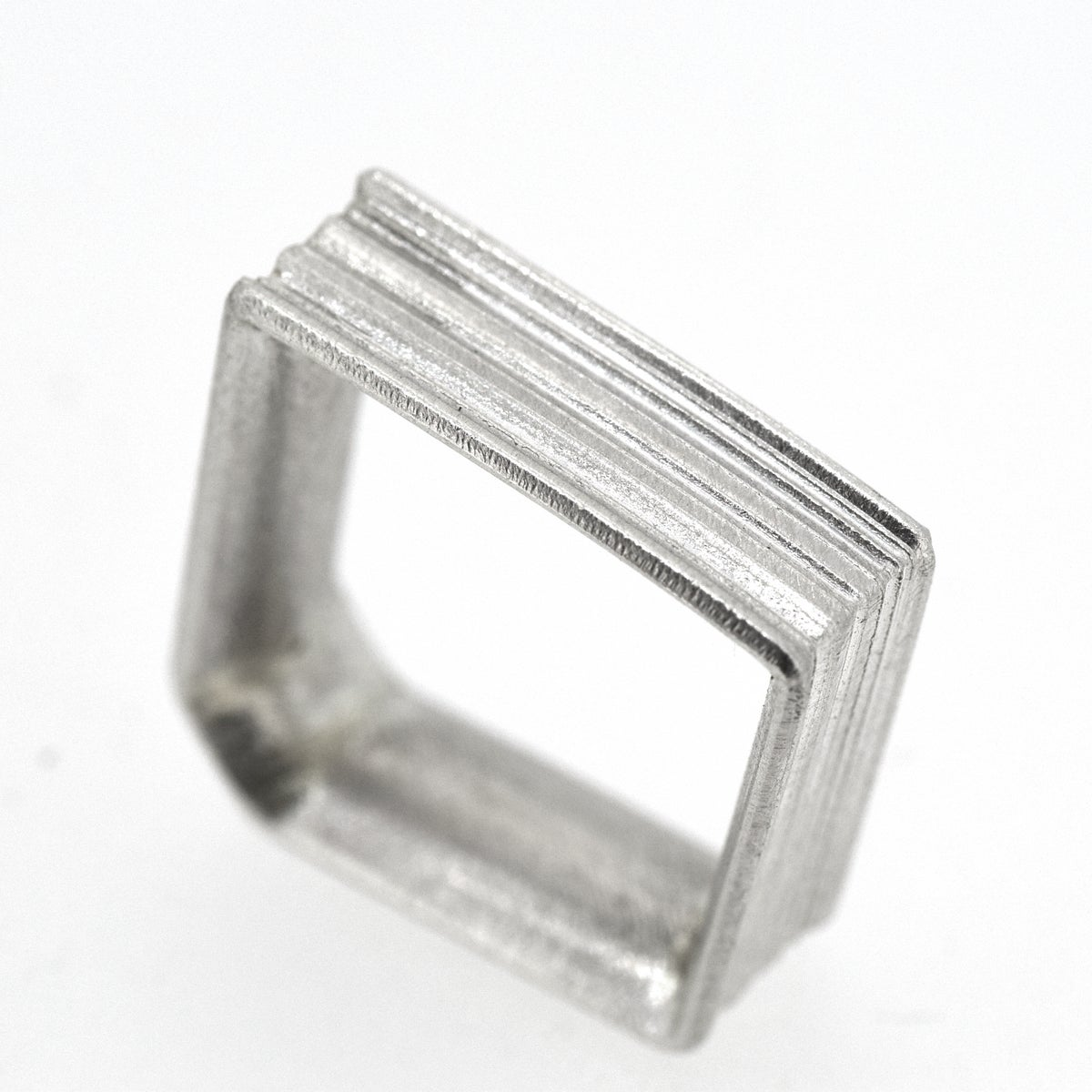 Sterling Angled Round, grooved 'Strata' Ring. 7mm diameter band with a rounded, easy fit inside