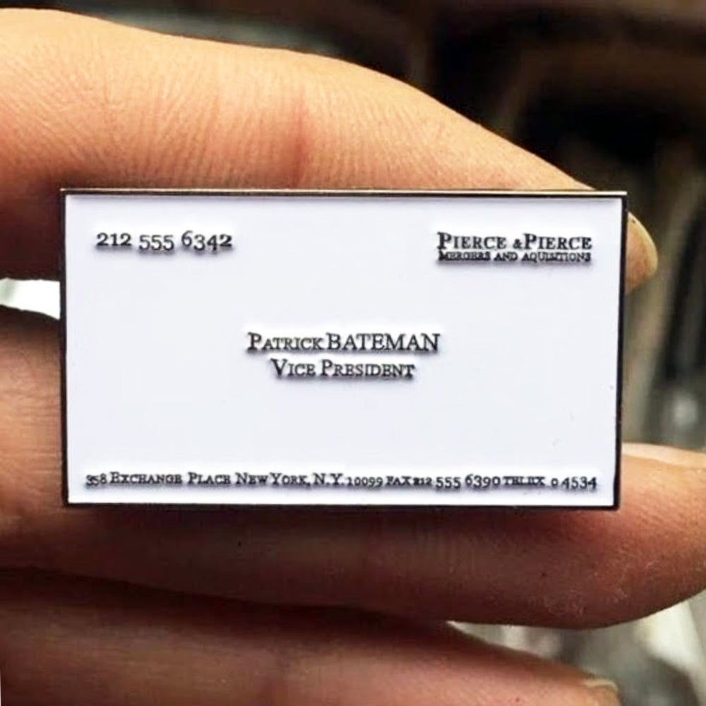 Popsicart american psycho patrick bateman business card enamel pin image of american psycho patrick bateman business card enamel pin colourmoves
