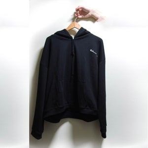Image of Black Cropped Metal Hoodie