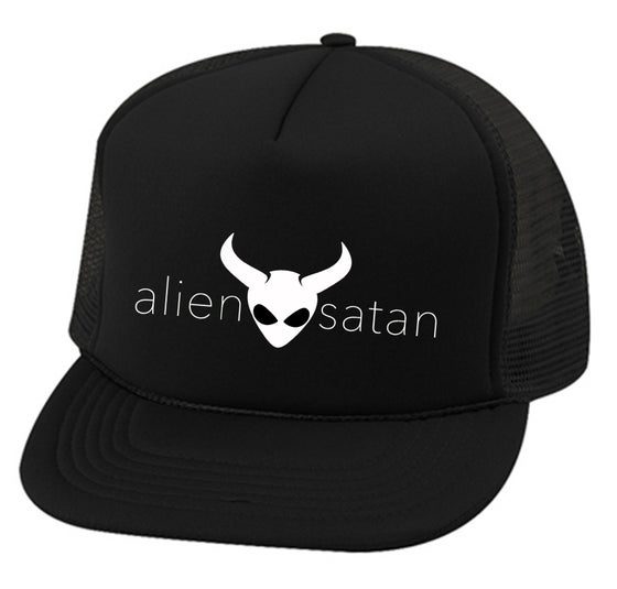 "Image of OFFICIAL - ALIEN SATAN - ""TEXT"" LOGO - TRUCKER HAT - BLACK"