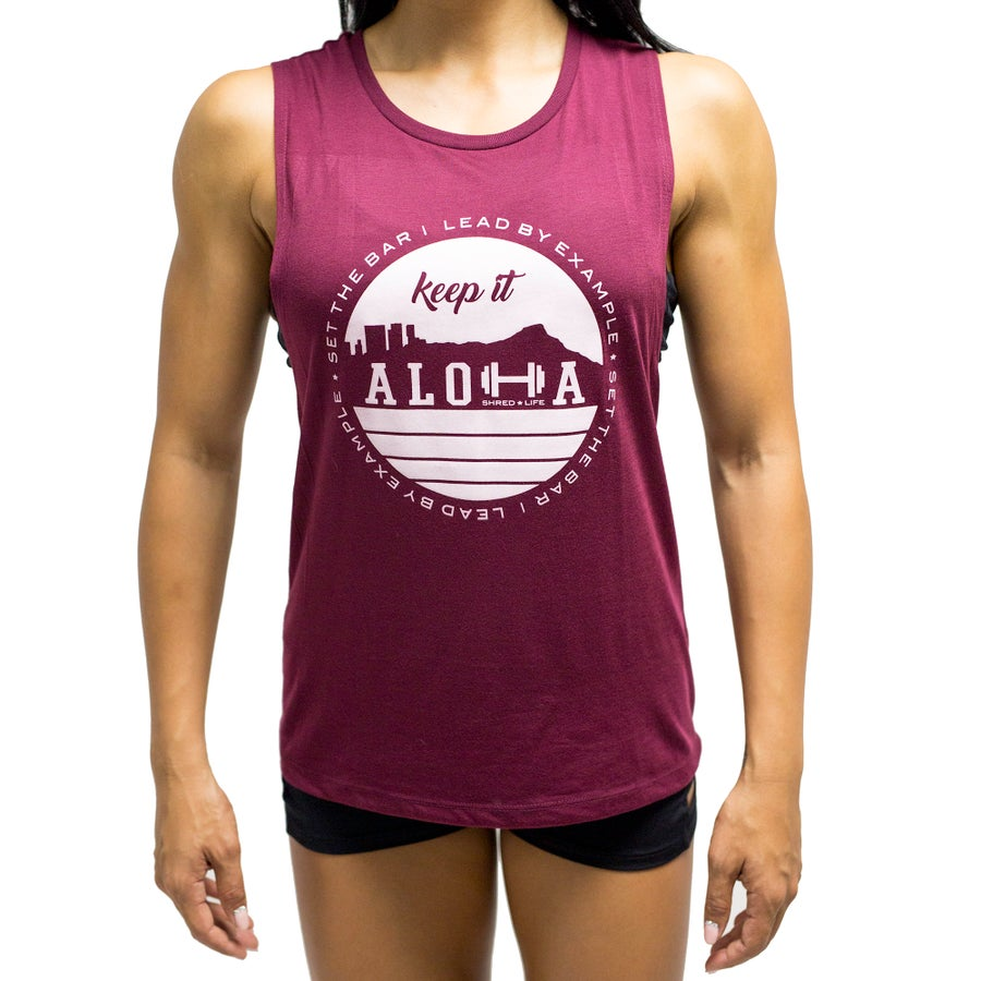 Image of Keep It Aloha Muscle Tee - Maroon