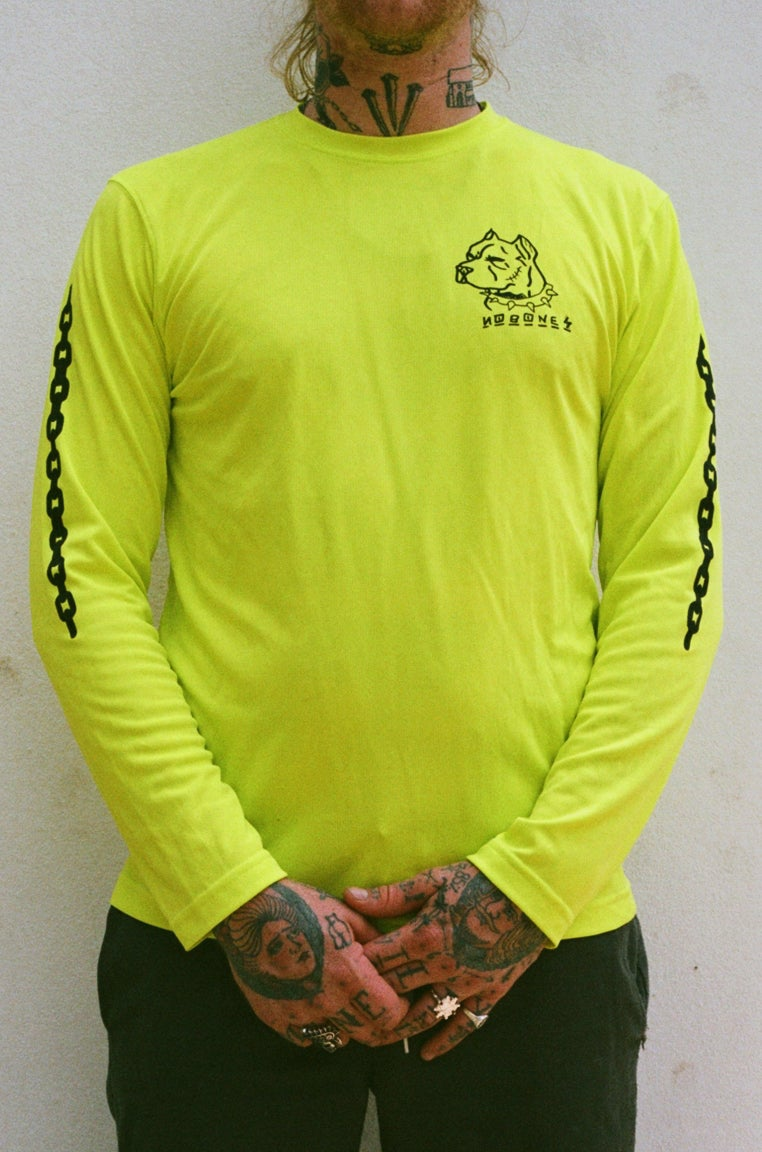 Image of neon DOGS long sleeve (football knit)