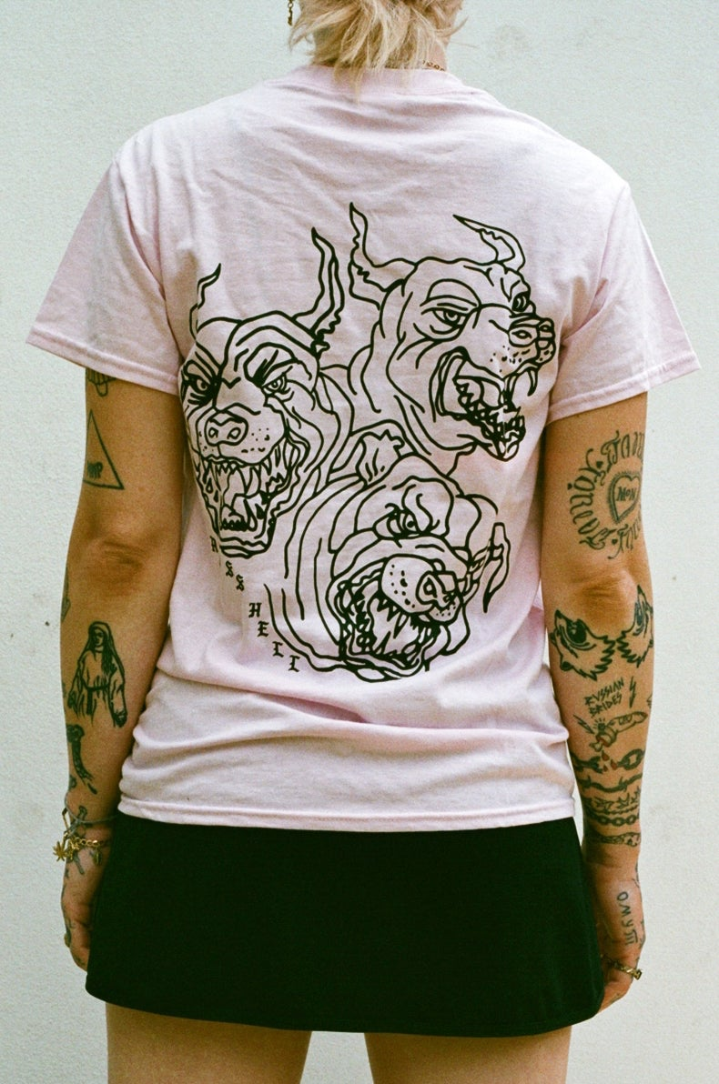 Image of pink DOGS T