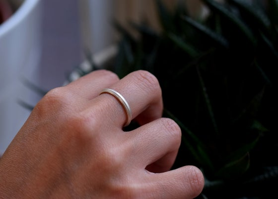 Image of Sterling Silver Round 'Strata' Ring. 3.3mm diameter dome shaped band