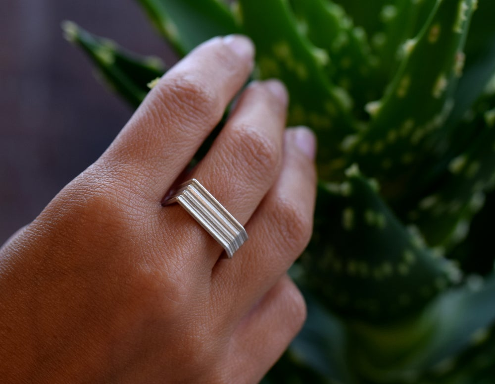 Image of Sterling Angled Round, grooved 'Strata' Ring. 7mm diameter band with a rounded, easy fit inside