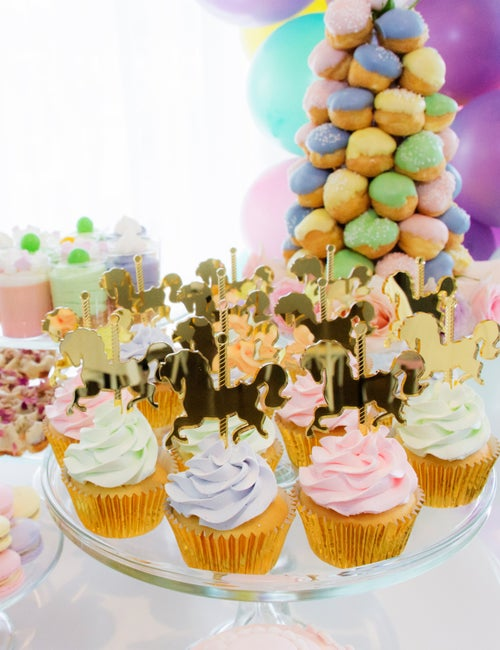 Image of CAROUSEL HORSE ENGRAVED CUPCAKE TOPPERS