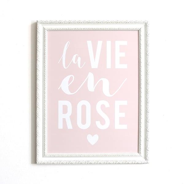 Image of AFFICHE 30x40 CM / LA VIE EN ROSE / ROSE POUDRE